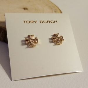 Tory Burch Rose gold logo earrings